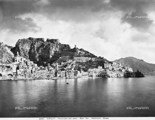 Panoramic view of the city of Amalfi from the sea