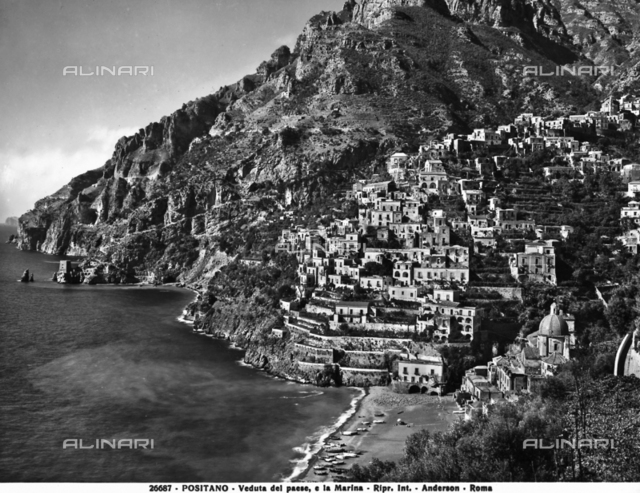 View of the town and seashore of Positano