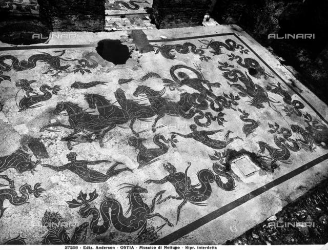 Triumph of Neptune, mosaic, Baths of Neptune, excavations of Ostia Antica, Ostia
