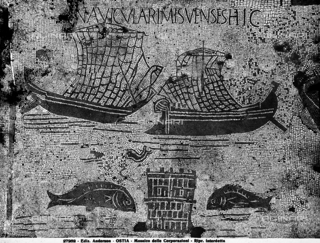 Two sailing vessels and a battlemented tower flanked by two fish, detail of the floor mosaics, Piazzale delle Corporazioni, excavations of Ostia Antica, Ostia