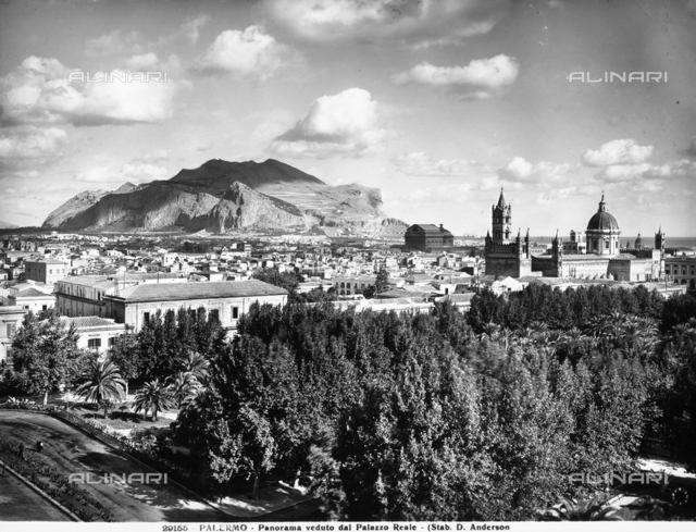 Panorama of Palermo seen from the Royal Palace. Mount Pellegrino can be seen on the horizon.