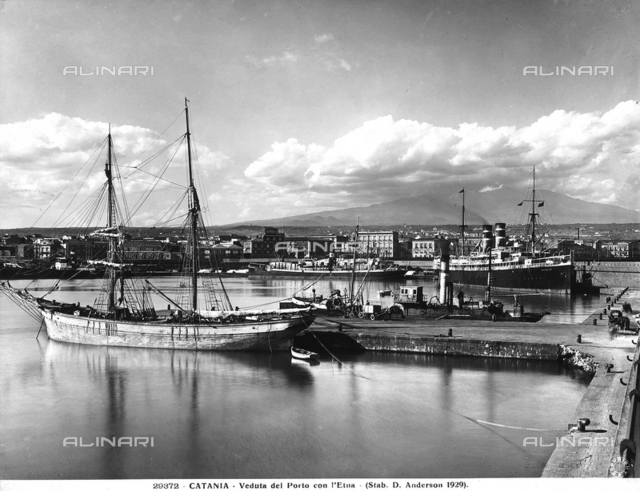 View of the Port of Catania. Aetna is in the background.