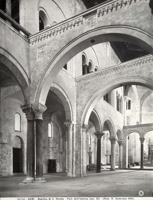 Nave, interior, Church of San Nicoila, Bari