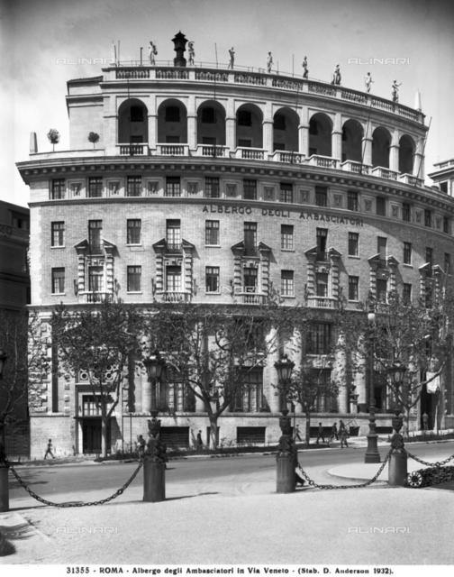 Ambassadors Hotel (now Hotel Boscolo Palace), designed by Marcello Piacentini, Via Vittorio Veneto, Rome