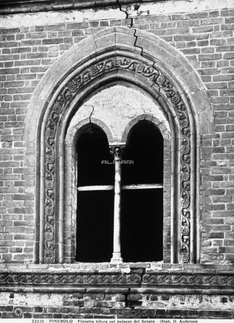 A double-lancet window of the Palazzo del Senato, Pinerolo