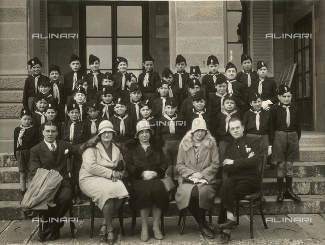 The Italian Fascist Youth Movement of the 4th grade, seen with their teachers