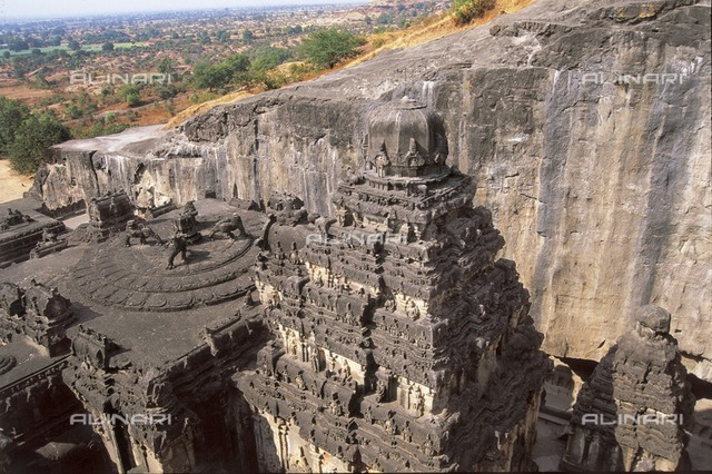 INDIA. MAHARASHTRA. Ellora. Ellora Caves. Kailasa Temple (cave n. 16), built between 757-783. Hindu art.