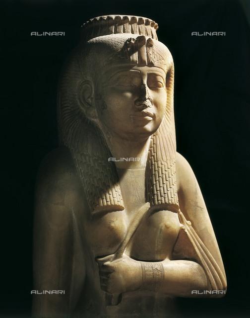 Amenirdis I. 712 - 698 BC. Detail. Divine worshipper (wife) of Amon. Egyptian art. Third Intermediate Period. Sculpture on rock. EGYPT. Cairo. Egyptian Museum. Proc: EGYPT. Karnak.