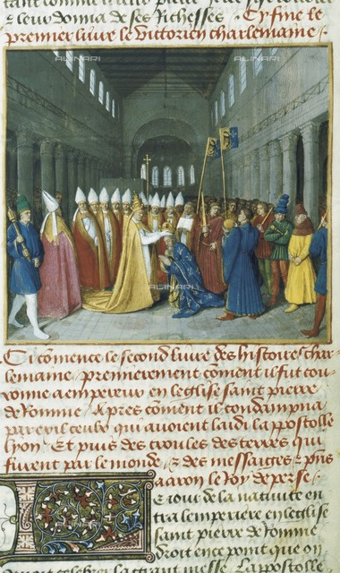 Fouquet, Jean (1420-1481). Grandes Chroniques de France (Great Chronicles of France). 1455-1460. Charlemagne crowned Holy Roman Emperor by Pope Leo III in  Saint Peter's Church in Rome (800). Miniature Painting. FRANCE. Paris. National Library.