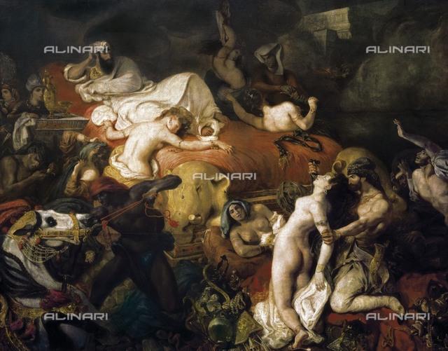 DELACROIX, Eugène (1798-1863). The Death of Sardanapalus. 1826-1827. Romanticism. Orientalism. Oil on canvas. FRANCE. Paris. Louvre Museum.