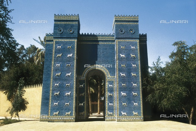 IRAQ. Babylon. Gate of Ishtar (580 BC). Rebuilt. Babylonian art. Neo-Babylonian Art. Architecture.