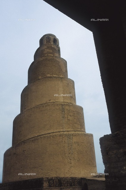 IRAQ. SALAH AD DIN. Samarra. Minaret of the Great Mosque (847). Abbasid art. Architecture.