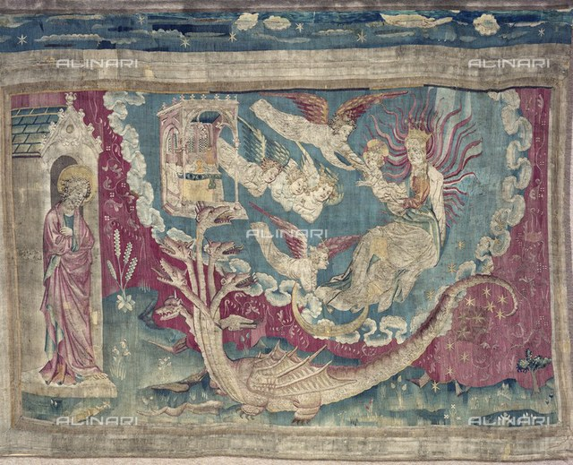 The Woman Clothed with the Sun, Eighth Scene of the tapestry number 3 of the Apocalypse of Angers, Nicolas Bataille (1330 ca.?1399 ca.), Castle of Angers
