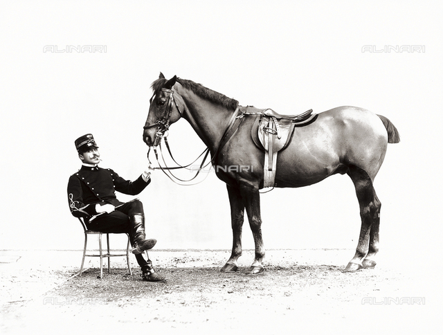 Lieutenant Solaro photographed next to his horse