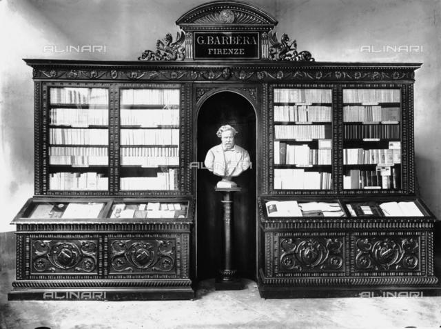 Barbera print shop: display case with books