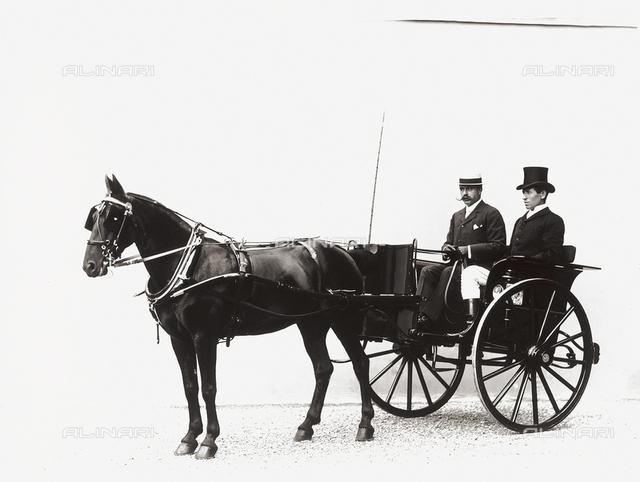 Portrait of Conte Delle Teste Rasponi on his gig, with his coachman
