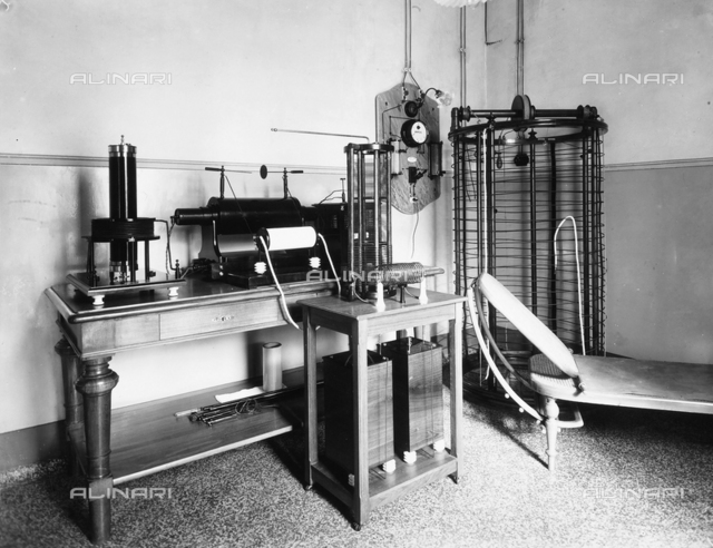 Medical machinery in the phototherapy applications room in the Pellizzari Institute of Florence.