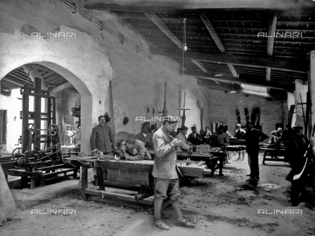Interior of an airplane factory, in the propeller department