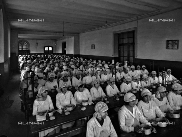 Women workers in the canteen of the Perugina factory, in Perugia