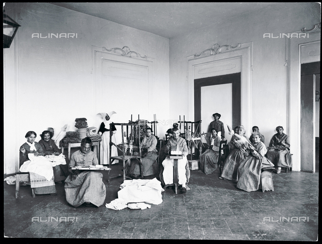 Florence. Hospital of San Salvi. Patients nusy sewing