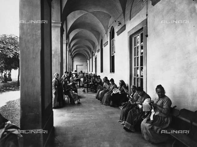 Patients at the Hospital of San Salvi, in Florence, engaged in womanly activities