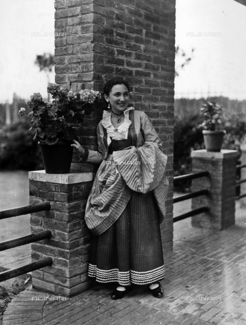 Villa Rosa Maltoni Mussolini: portrait of an adolescent wearing a traditional Calabrian costume