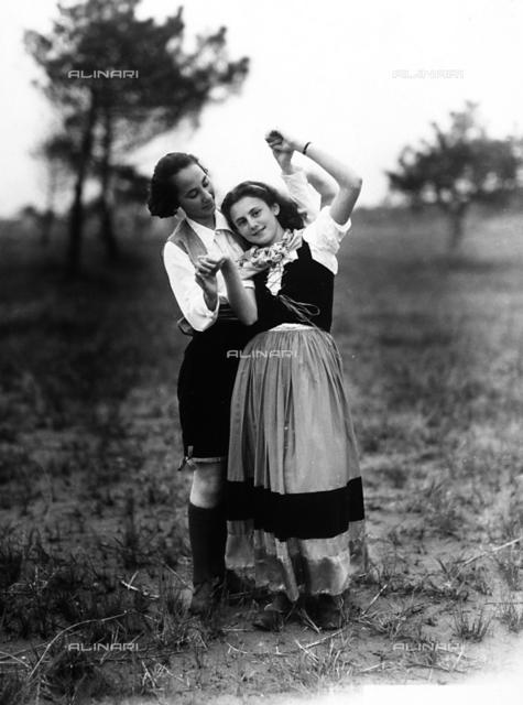 Villa Rosa Maltoni Mussolini: two adolescents wearing traditional Friulian costumes