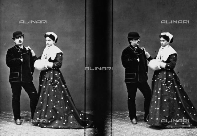 Portrait of a couple, stereoscopic photograph