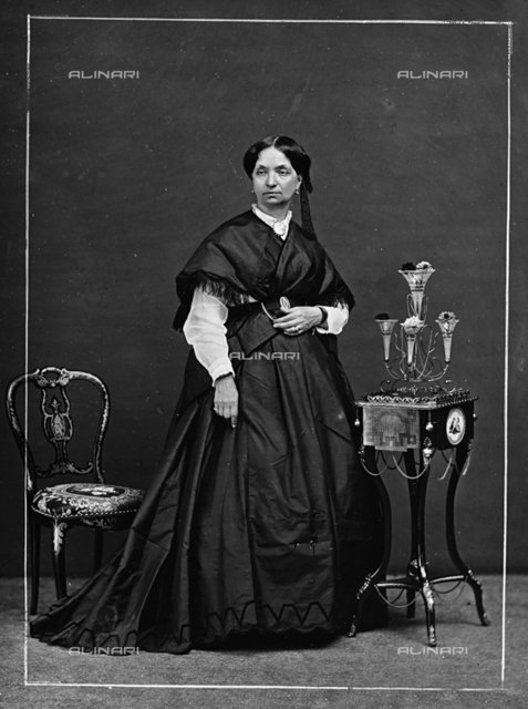 Portrait of an elderly lady in nineteenth century costume