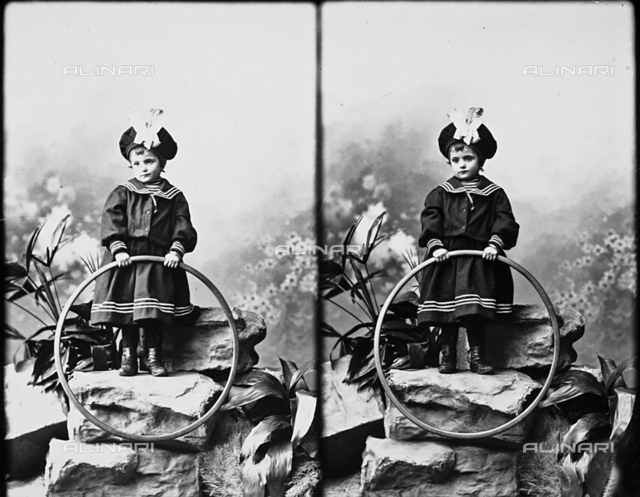 Portrait of girl in sailor's outfit, stereoscopic photograph