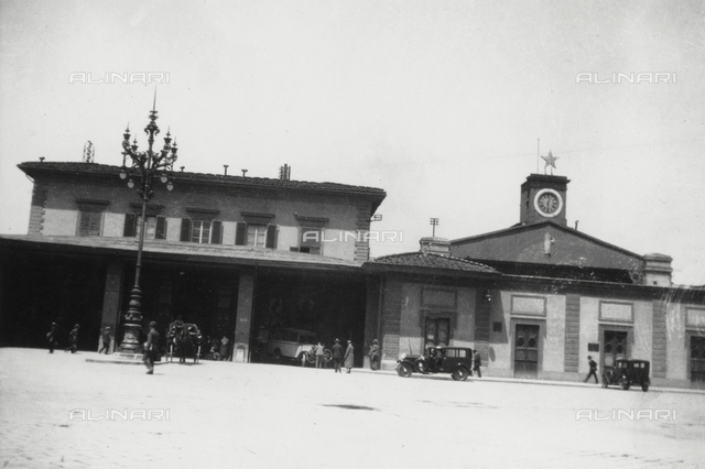 The Maria Antonia station designed by Enrico Presenti (on the site where the new railway station of Santa Maria Novella), Florence; Modern photographic reproduction