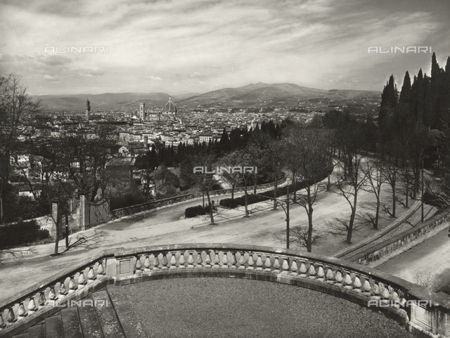 View of Florence from Piazzale Michelangelo resumed in the foreground with the avenue Giuseppe Poggi