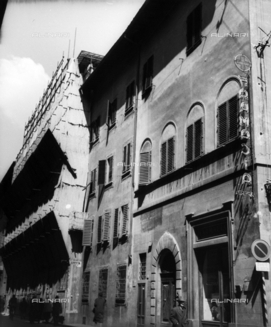 Building corner of Via Bufalini and Piazza Santa Maria Nuova, with Hospital pharmacy, Florence