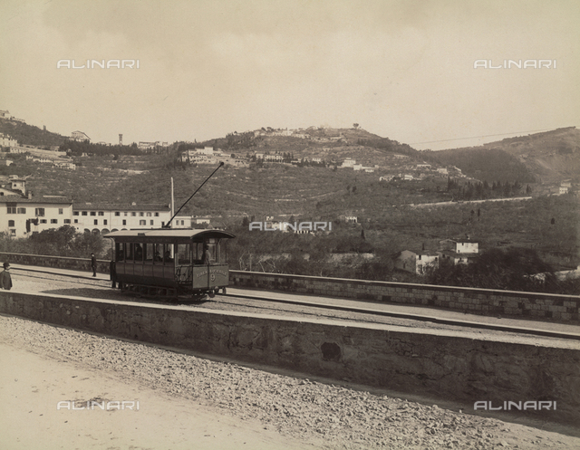 The first car of the tram Firenze-Fiesole