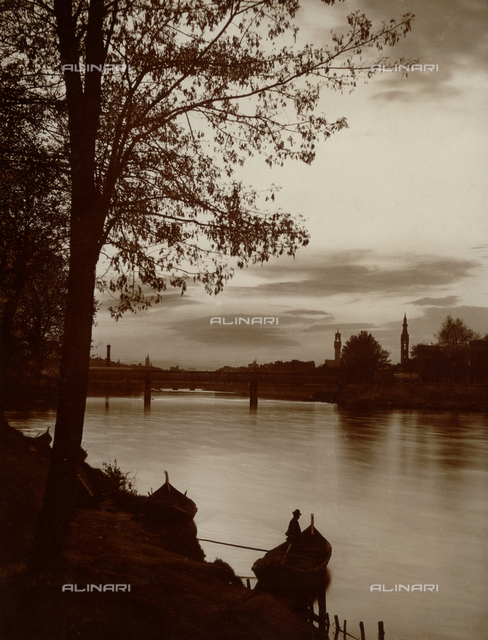 """Arno river with the """"iron bridge"""" (later St. Nicholas), Florence; in the background the tower of the Palazzo Vecchio and the bell tower of Santa Croce"""