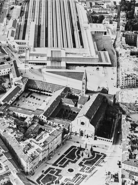 Aerial View of Florence with the Church and Convent of Santa Maria Novella and the Station