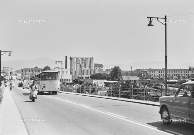 """Viareggio industrial area from the bridge over the railway"""