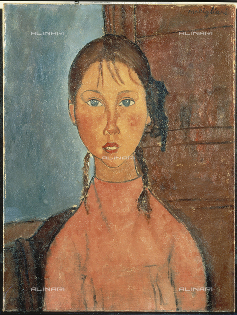 Girl with pigtails, oil on canvas, Amedeo Modigliani (1884-1920), The Nagoya City Art Museum, Nagoya