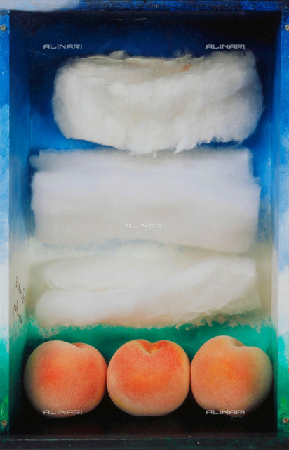 """""""Pechage"""": canned peaches; oil, plastic, cotton, wood; assembled object, Man Ray (1890-1976)"""