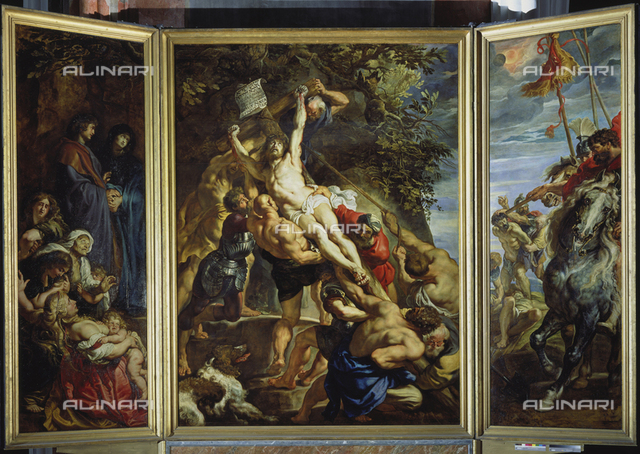 Raising of the cross (central triptych blade), oil on panel, Peter Paul Rubens (1577-1640), Cathedral of Our Lady, Antwerp
