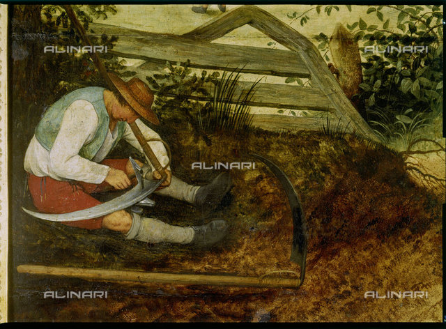 Farmer sharpening his scythe. (Detail from The Hay Harvest, see 870),Brueghel d.Ä.,Pieter,1525/30-1569,Prag,National (Narodni) Galerie,Oil/Wood,16th century