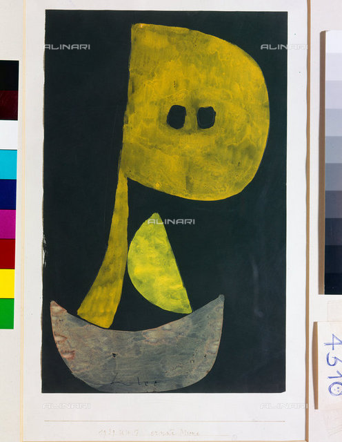 Serious face (Ernste Miene). 1939, 857,Klee,Paul,1879-1940,Bern,Zentrum Paul Klee,Watercolour,20th century,tempera and pencil on paste on newsprint on cardboard