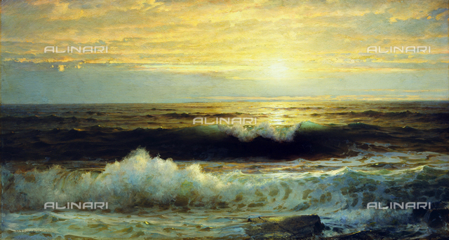 An Orange Sunset Waning Low, oil on canvas, William Trost Richards (1833-1905)