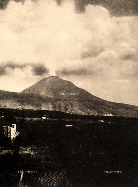 View of Vesuvius during a gaseous eruption, sometime before the great eruption of 1906.