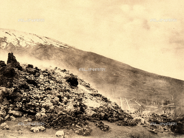 A section of the Vesuvian railway track, destroyed by the violent volcano eruption of 1906.