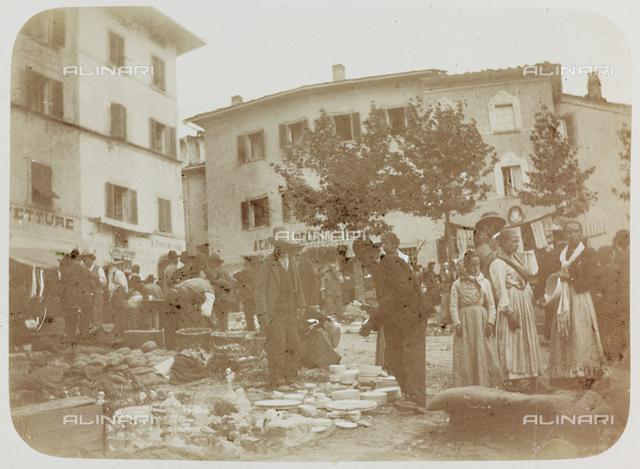 View of Piazza Catilina with the market in Cutigliano, Pistoia; postcard