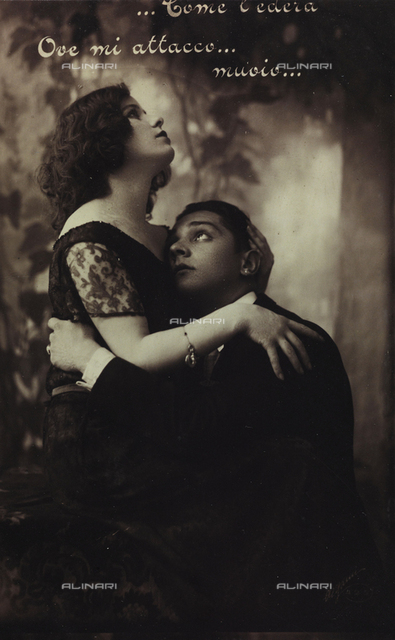 Portrait of a young couple, postcard