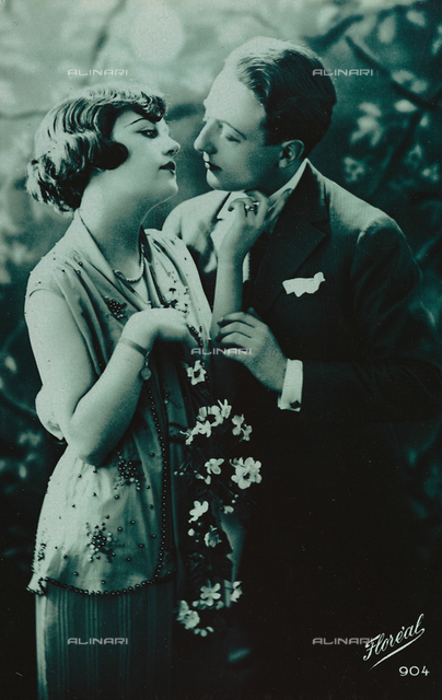 Portrait of a young couple, postcard