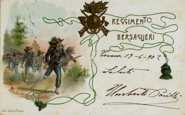 Postcard depicting the Fourth Regiment of Bersaglieri 1902