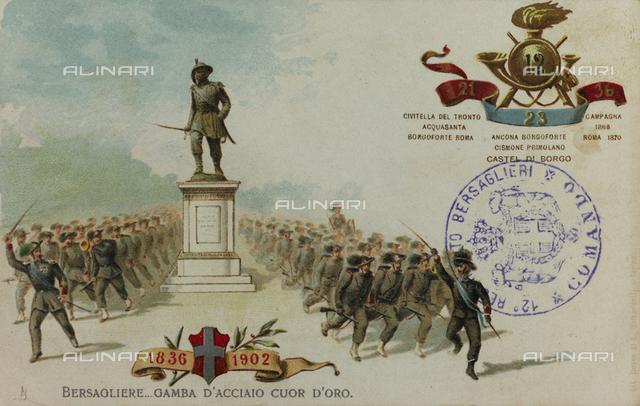 Postcard commemorating the Italian Bersaglieri